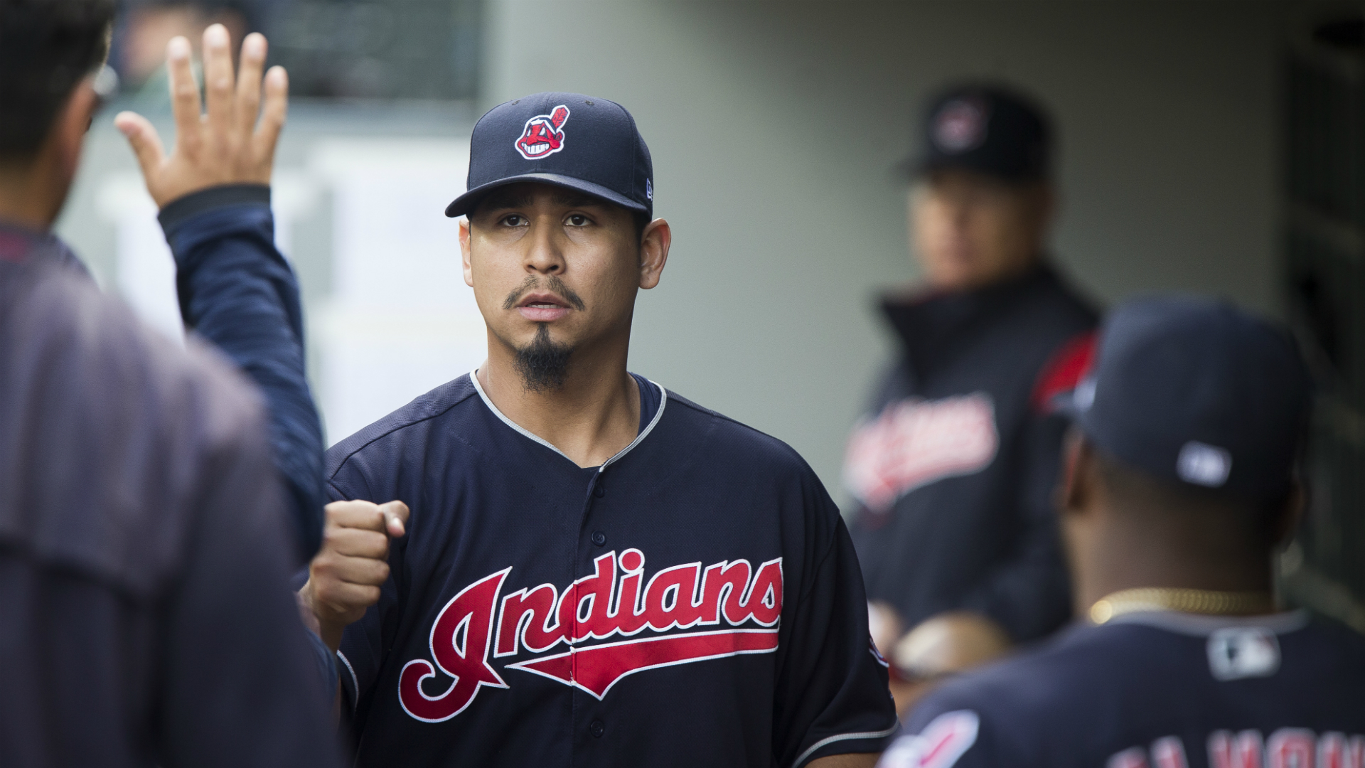 """Carrasco said: """"I spent two and a half months away from baseball, just coming back today out of the bullpen feels great."""""""