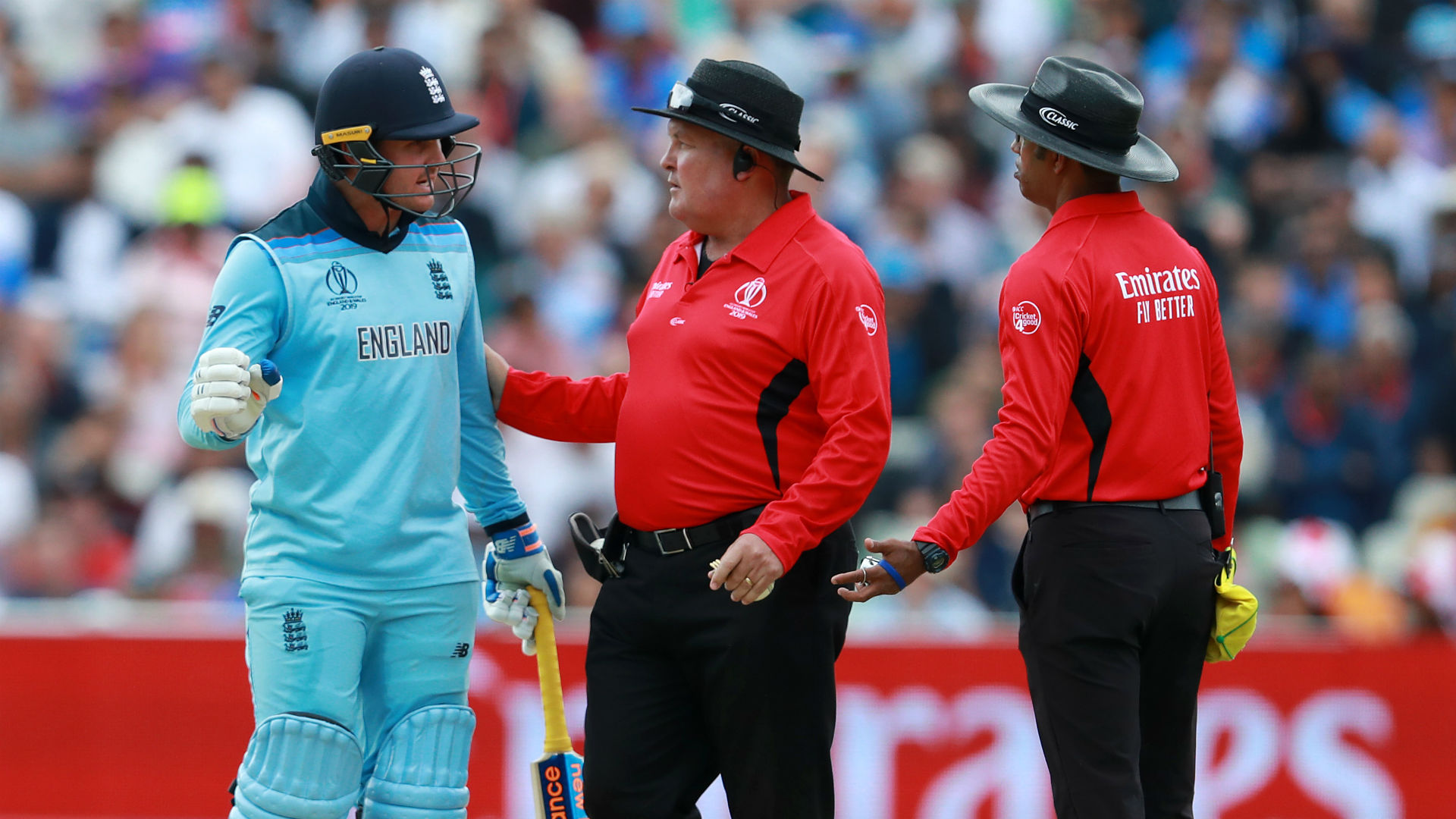 After his stunning innings was brought to a halt by a bad call from umpire Kumar Dharmasena, Jason Roy's reaction has landed him in trouble.
