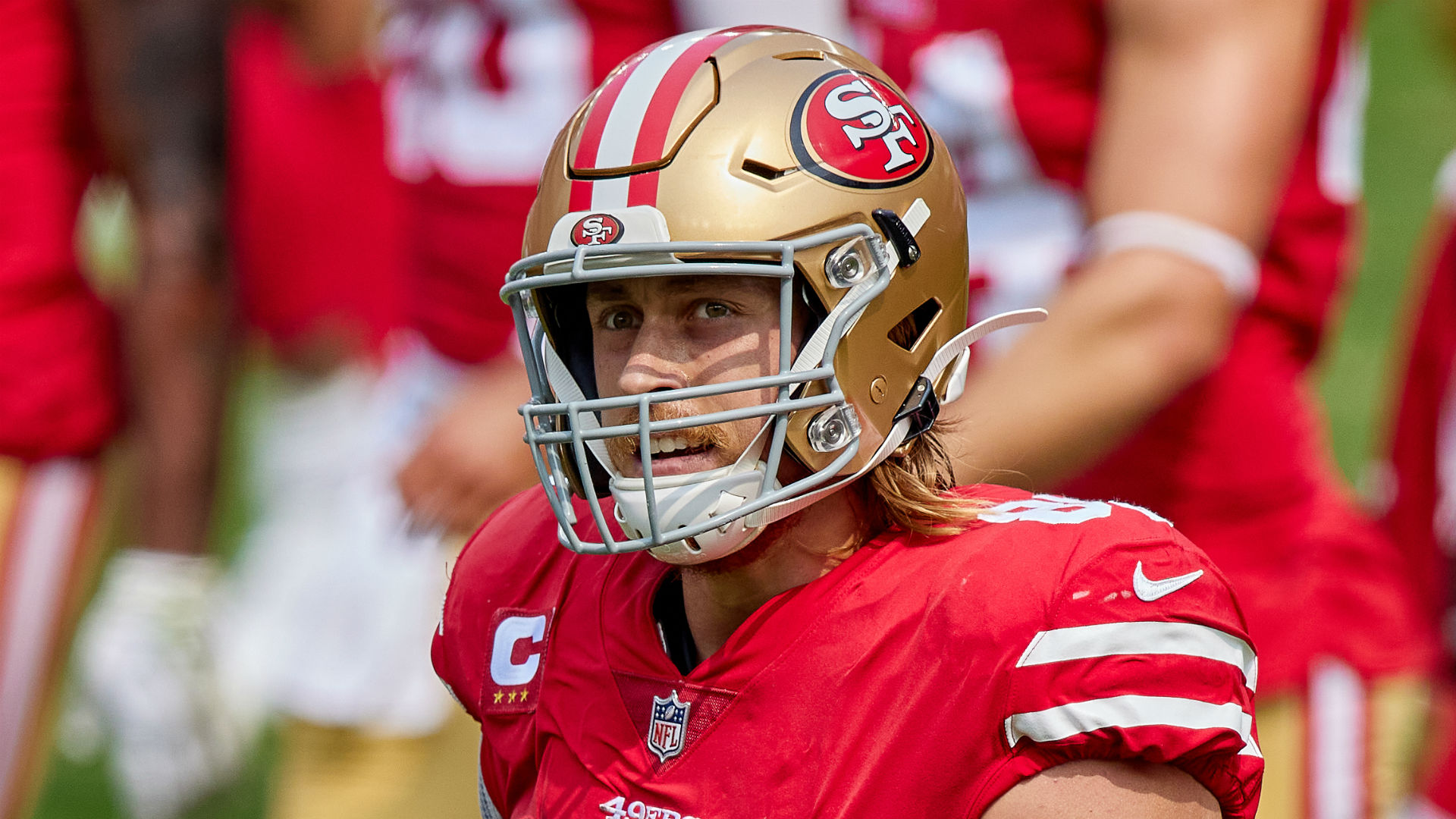 George Kittle will not feature for the San Francisco 49ers at MetLife Stadium, with Kyle Shanahan erring on the side of caution.