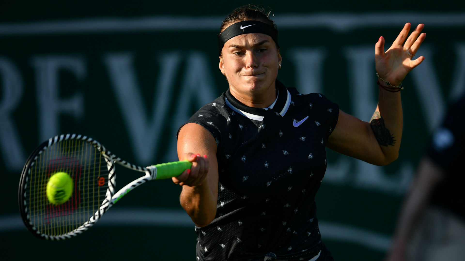 Aryna Sabalenka staged a superb third-set comeback at Eastbourne on Wednesday to end Caroline Wozniacki's title defence.