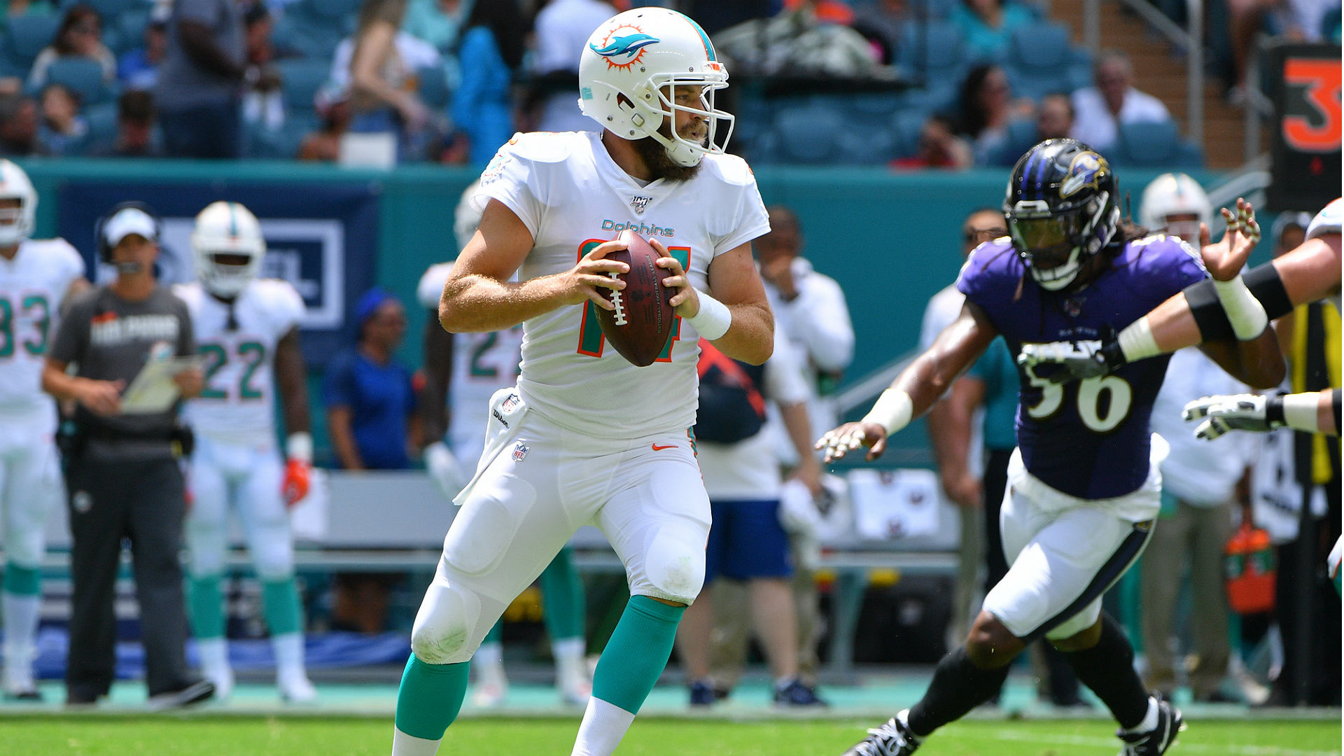 Ryan Fitzpatrick reflected on the Miami Dolphins' big loss to the Baltimore Ravens on Sunday.