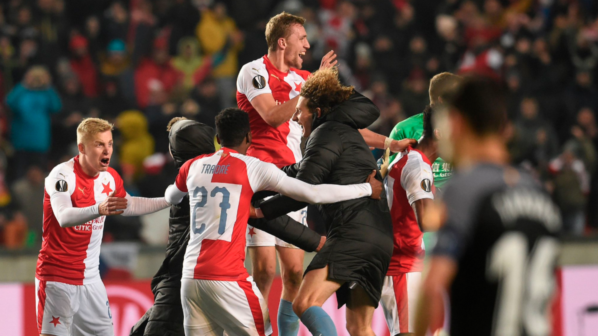 Slavia Prague beat Sevilla 4-3 in their second leg, and 6-5 on aggregate, to secure their place in the quarter-finals of the Europa League.
