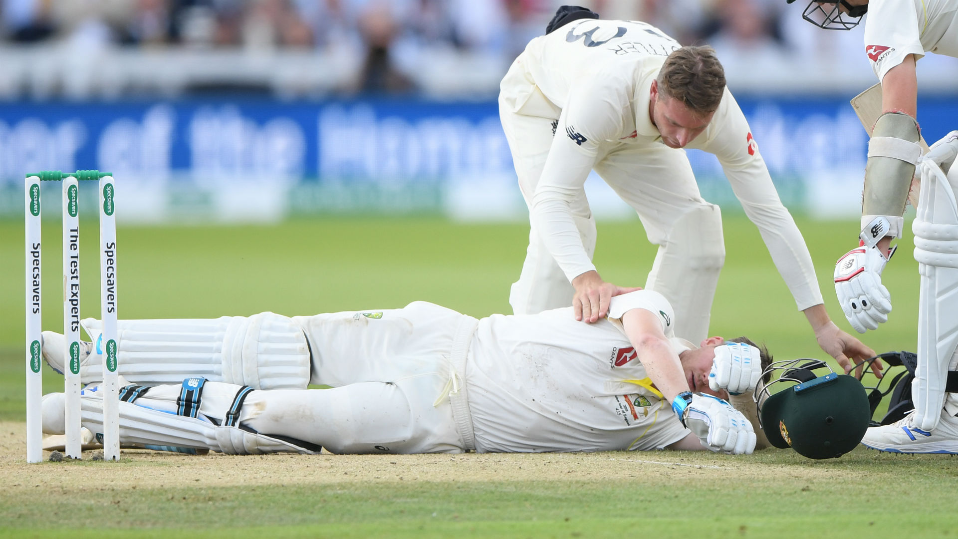 Australia batsman Steve Smith starred once again during the Ashes but Lord's held its breath when he was struck by a Jofra Archer bouncer.