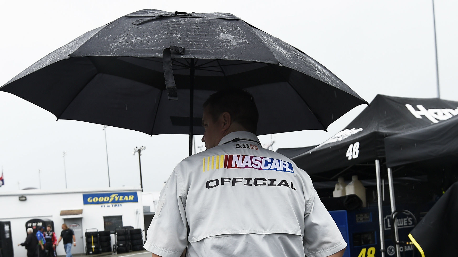 Persistent rain at Bristol Motor Speedway forced the postponement of the remainder of the Food City 500 until Monday.