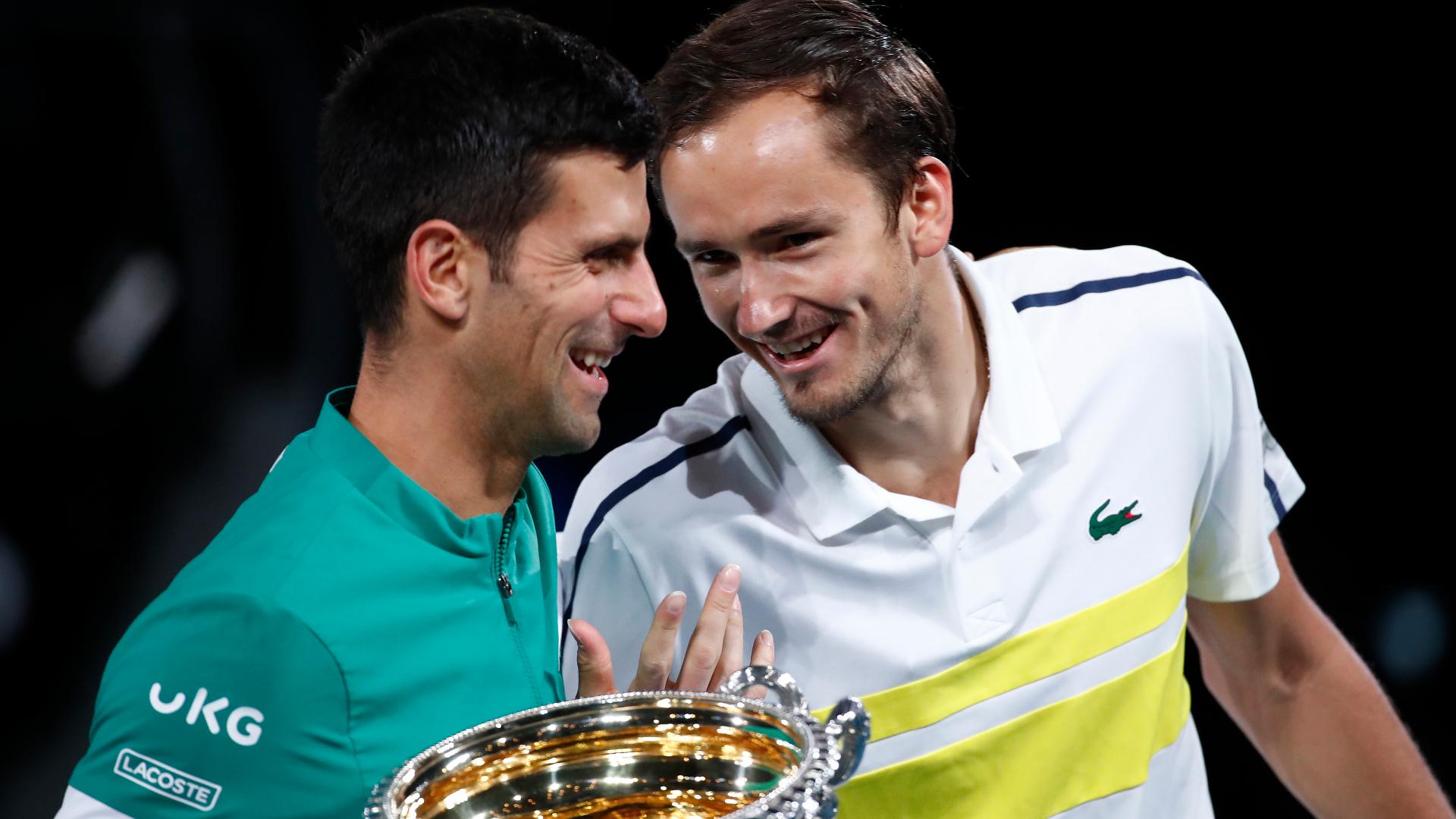 Novak Djokovic and Daniil Medvedev exchanged fond words after the Serbian won a one-sided Australian Open final.