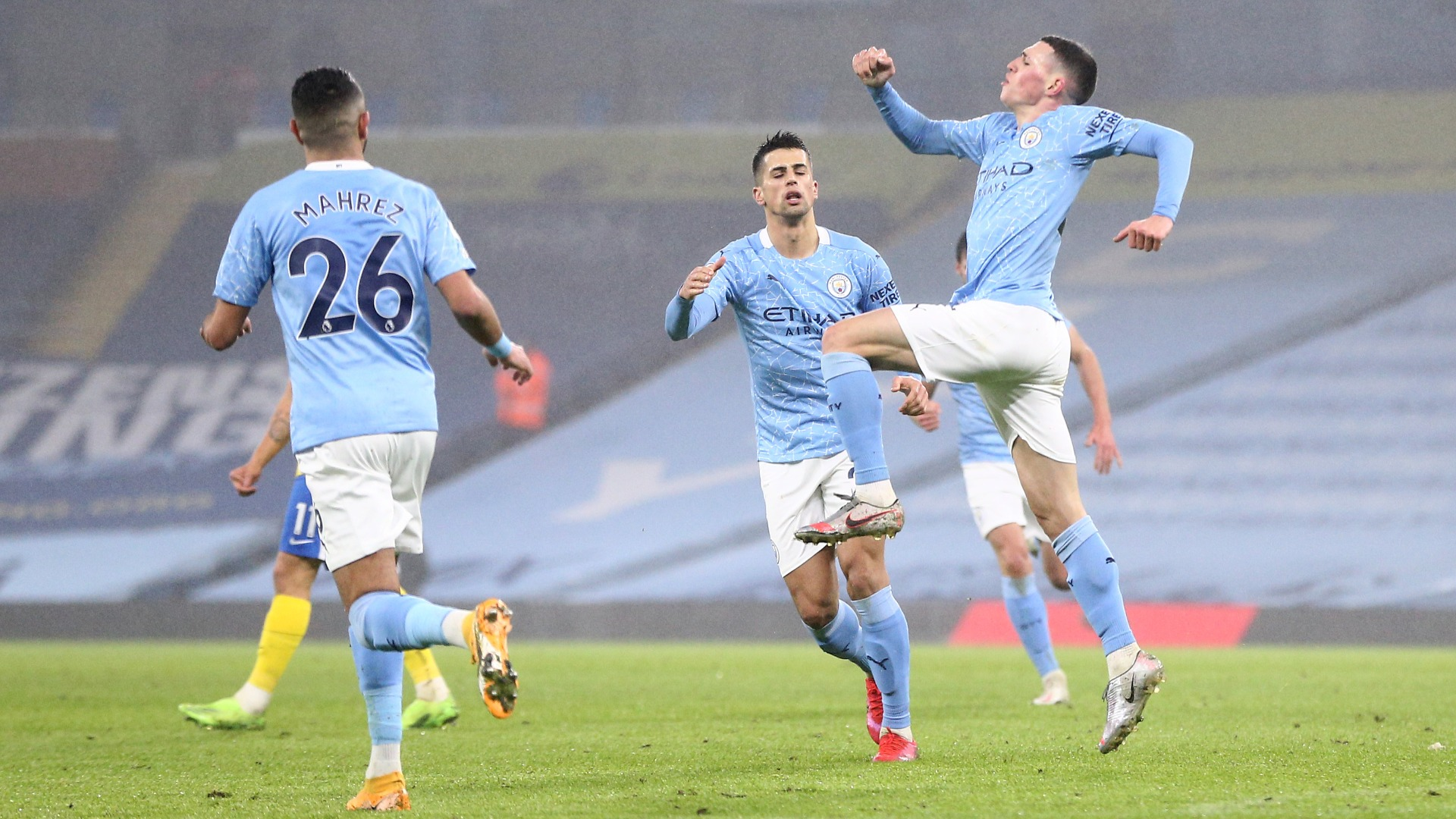Phil Foden scored his eighth goal of the season in all competitions to give Manchester City a victory over Brighton and Hove Albion.