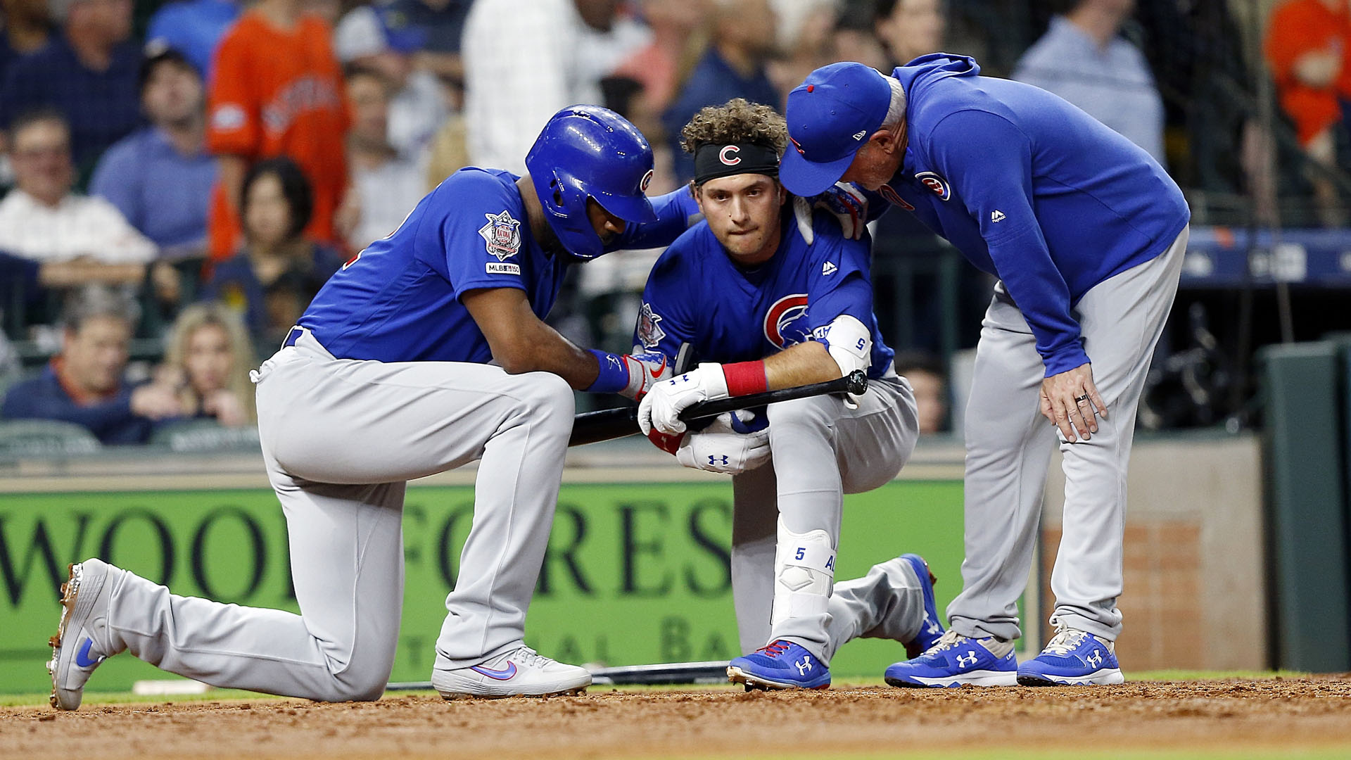 Albert Almora's line drive foul ball struck a child in the stands at Minute Maid Park on Wednesday.