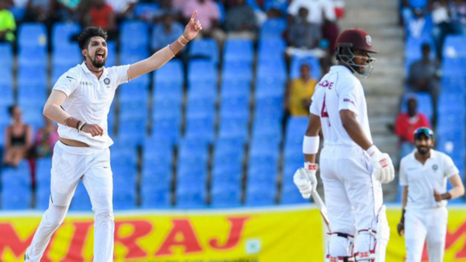 West Indies trail India by 108 with only two wickets remaining after Ishant Sharma's devastating final-session burst.