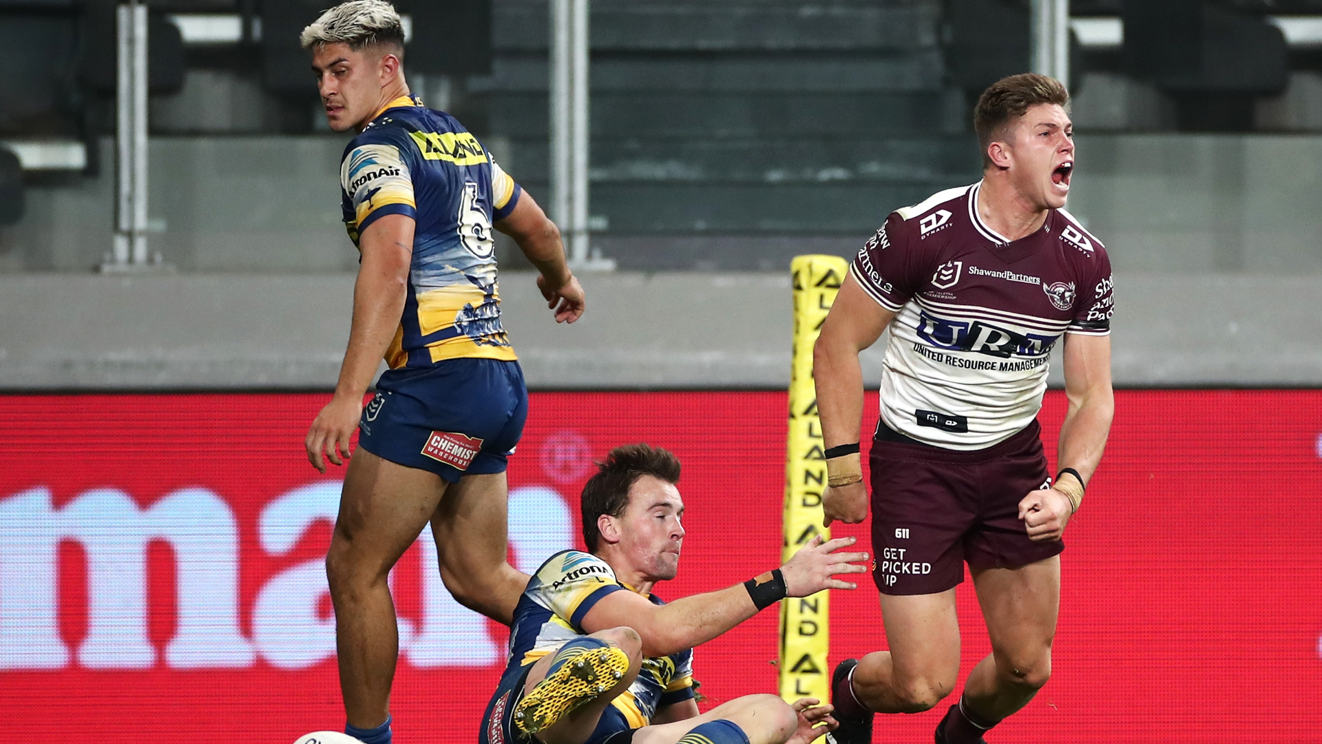 A contentious call scuppered Manly Sea Eagles as they came up short against Parramatta Eels, while Cronulla Sharks won at last.