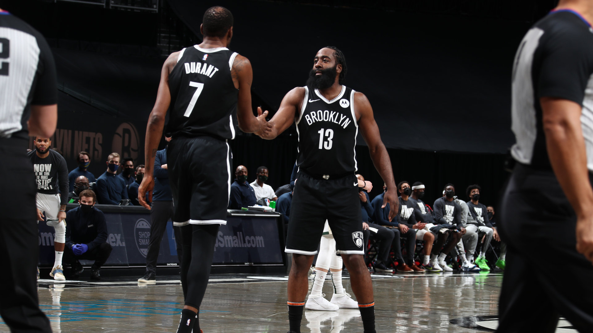 A late three-pointer from Kevin Durant gave the Nets a battling win over the Bucks, with James Harden also impressing for his new team.