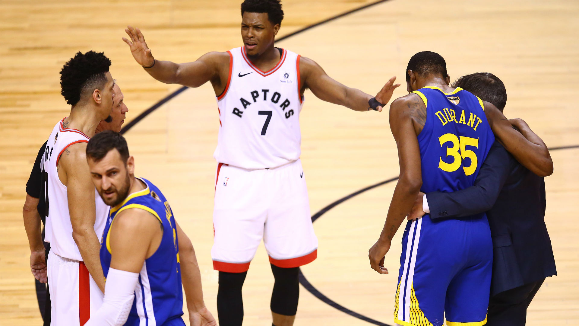 There were cheers when Kevin Durant hit the deck in pain during Game 5, a reaction that Kyle Lowry was not impressed with.
