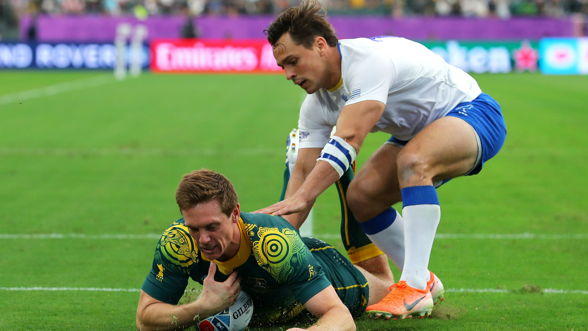 Full-back Dane Haylett-Petty says Michael Cheika's squad rotation has kept Australia on their toes in Japan.