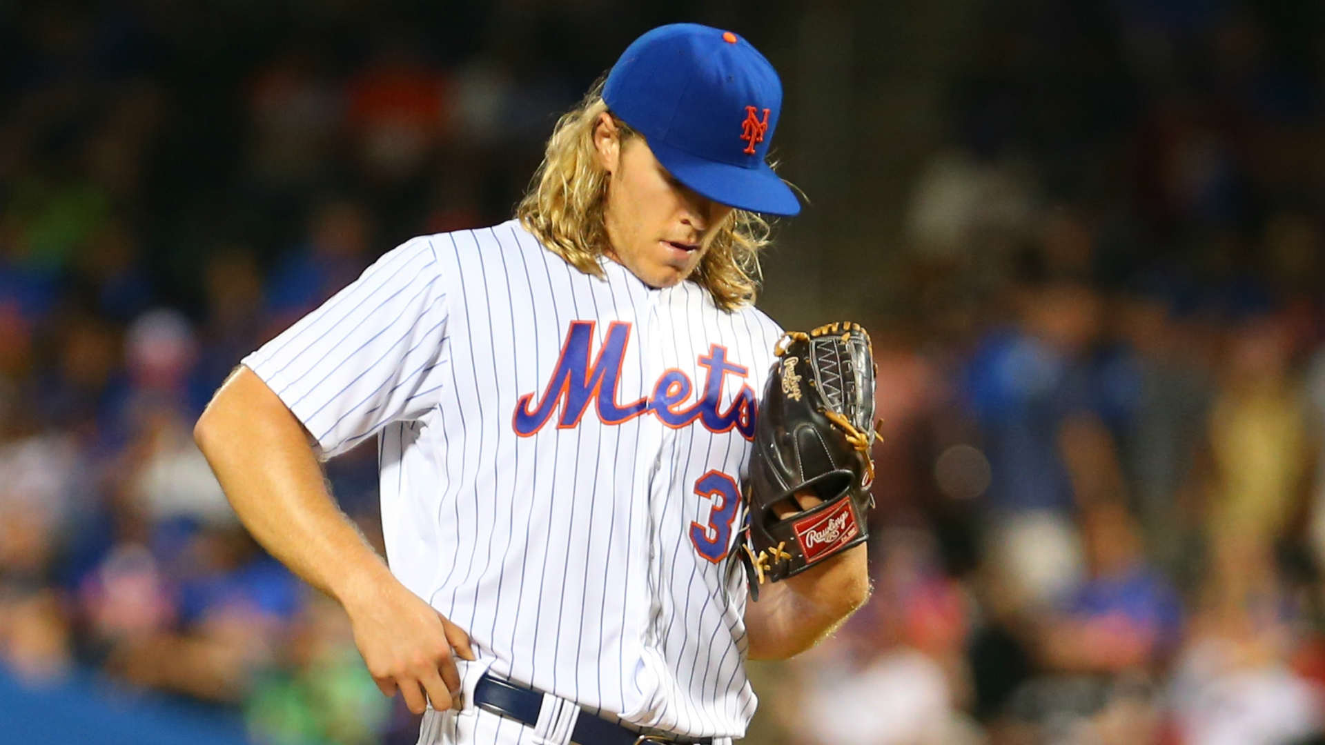 Noah Syndergaard was taken out of the game in the seventh inning and was seen grabbing the back of his right leg.