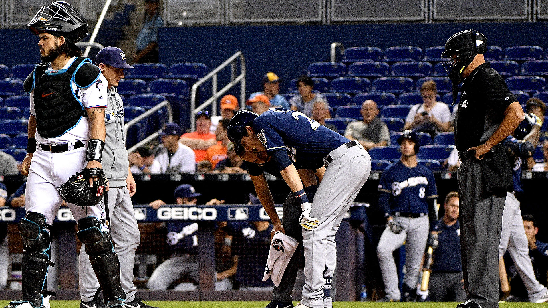 Yelich suffered the injury after lining a ball off his leg in the first inning Tuesday against the Marlins.
