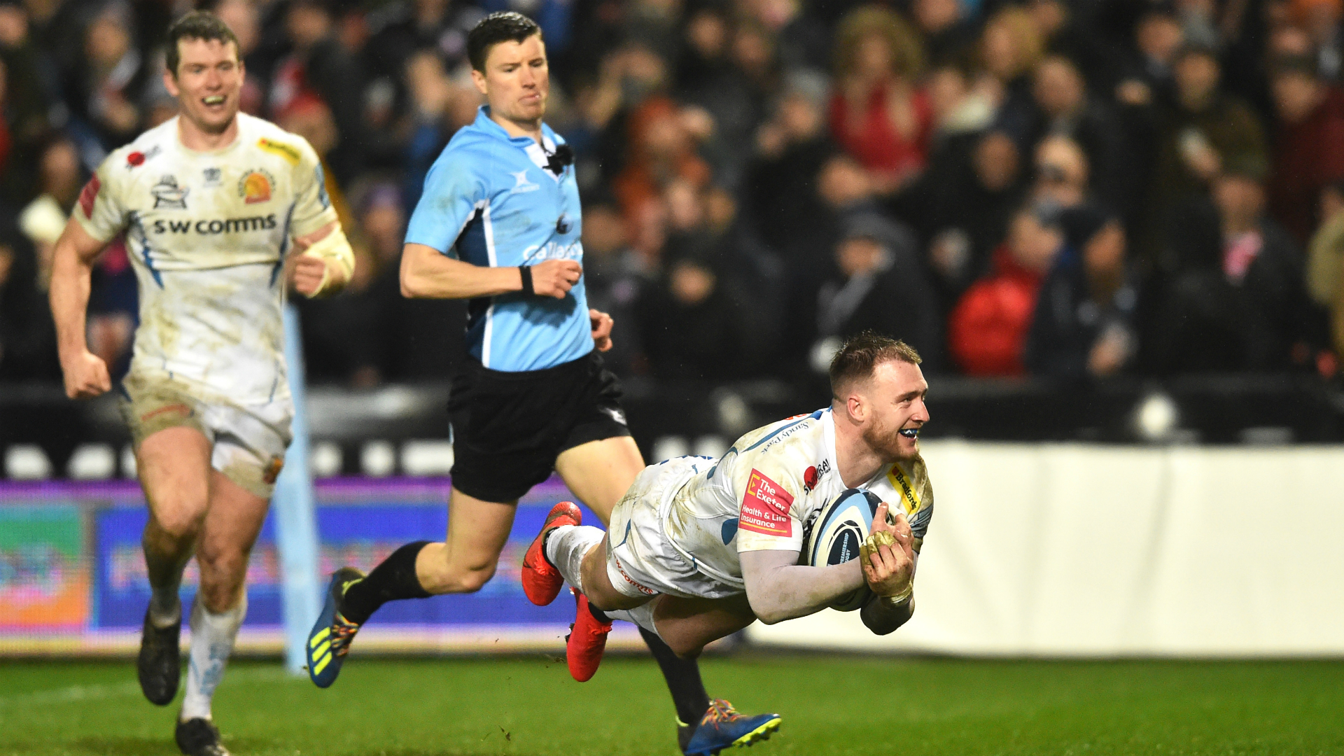 Stuart Hogg was among the scorers on his Exeter Chiefs return as Gloucester were beaten at home.