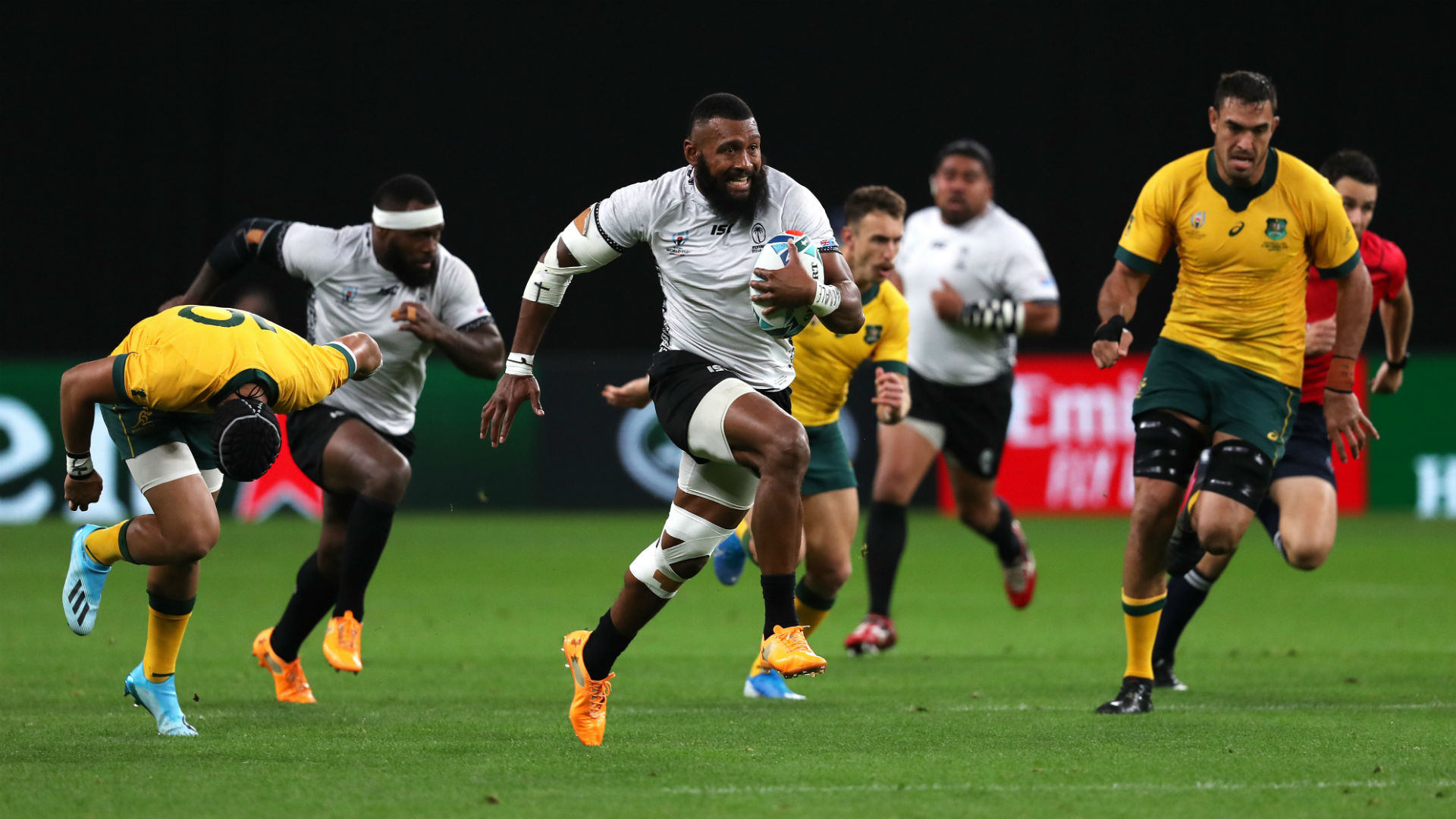Fiji failed to see out a shock victory over Australia in their Rugby World Cup opener, and Michael Cheika was proud of his team's recovery.