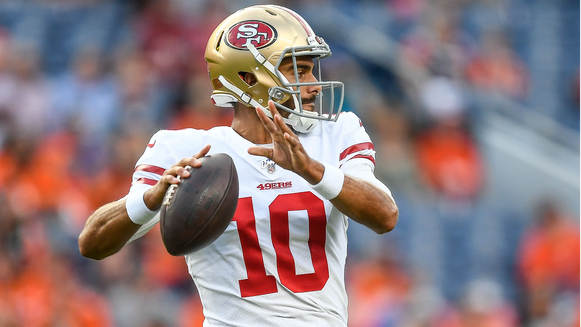 Playing for the first time in almost a year, Jimmy Garoppolo struggled against the Denver Broncos in Monday's preseason game.
