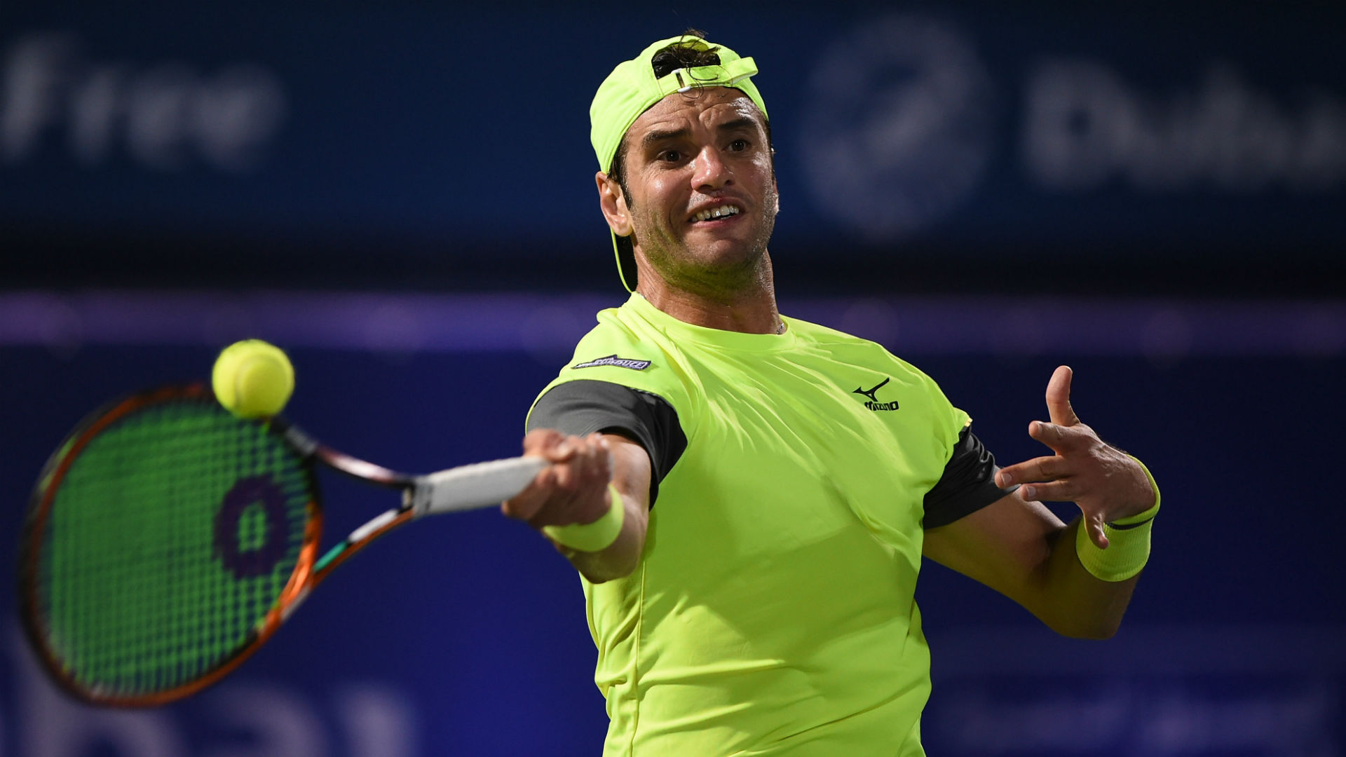 Following his upset win against Grigor Dimitrov, Malek Jaziri marched on at the Dubai Tennis Championships on Wednesday.