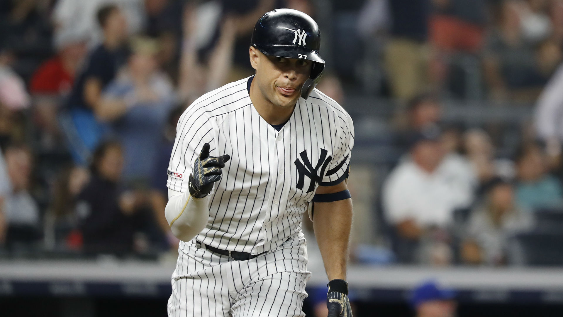 In four playoff games this year, Stanton is slashing .300/.467/.600 with a home run, two RBIs and four walks.