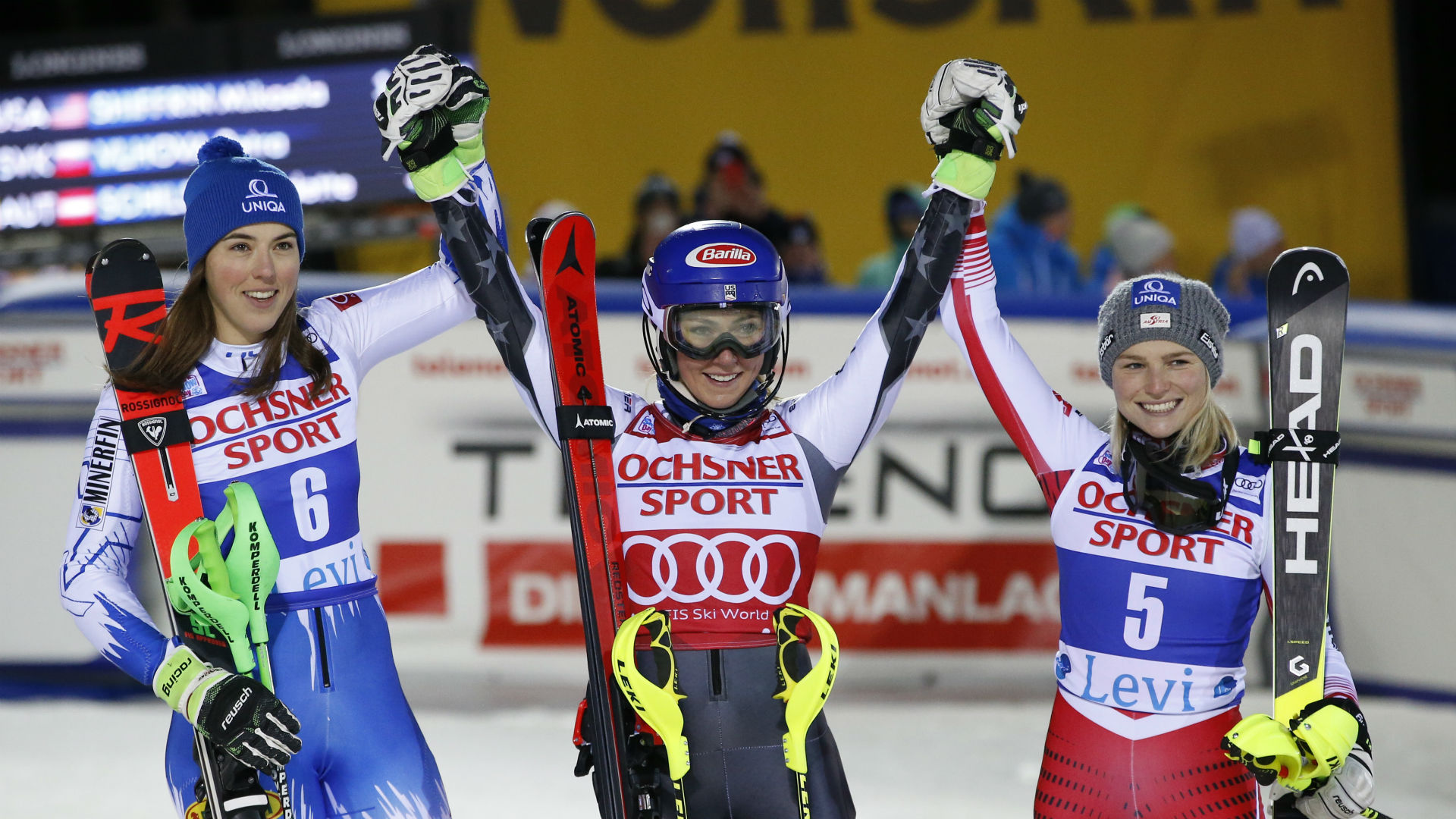 Slalom superstar Mikaela Shiffrin claimed a record-equalling third victory in Levi as she closes in on Marlies Schild's record.