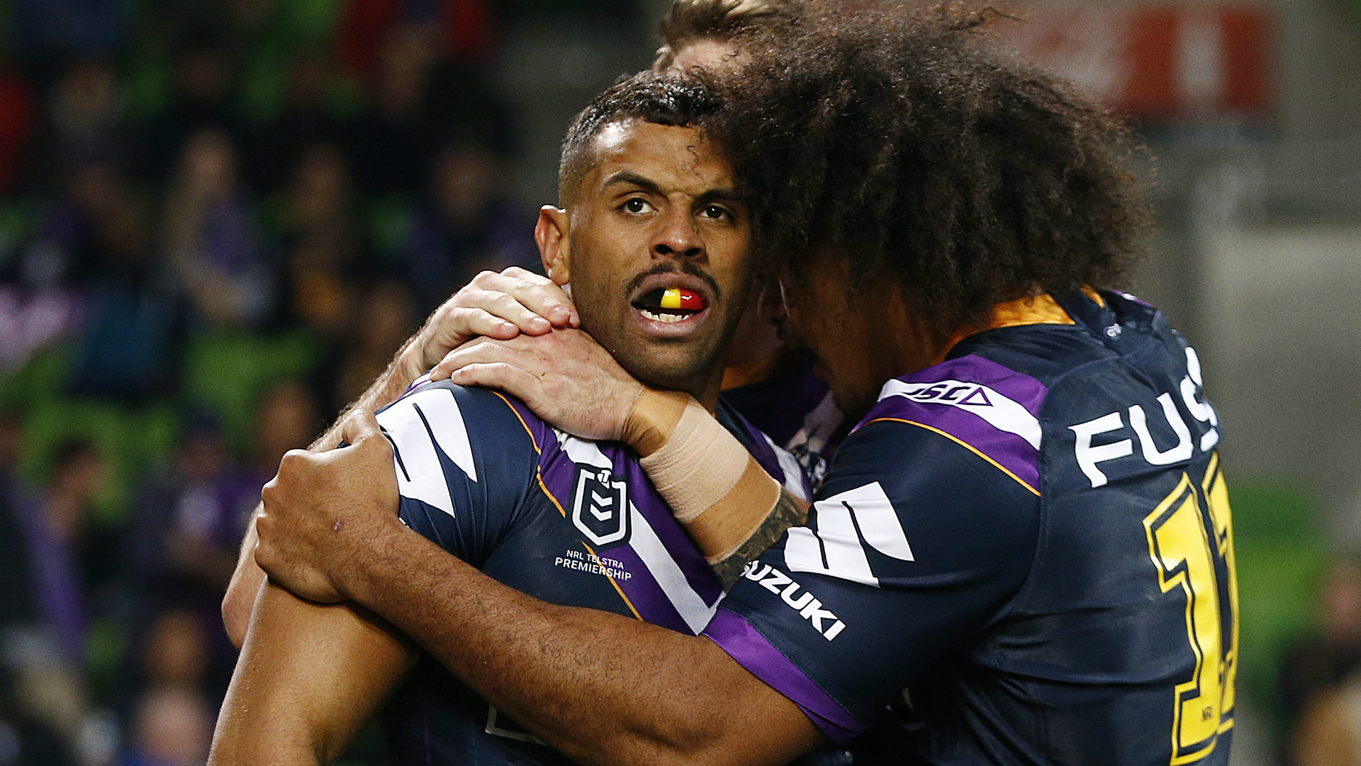 Josh Addo-Carr's double during a first-half blitz helped Melbourne Storm to a big win over Parramatta Eels in a one-sided semi-final.