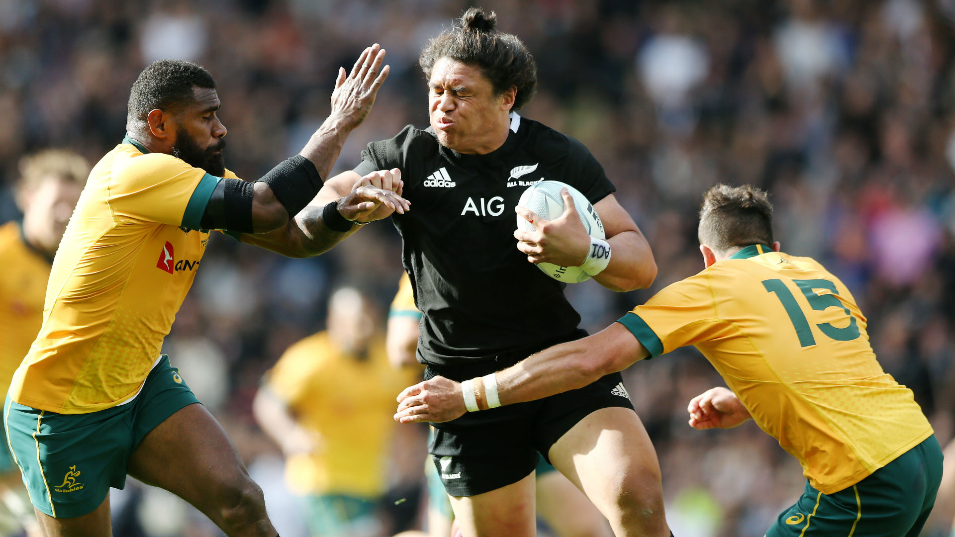 Not even Michael Hooper's unorthodox tackling method could slow down New Zealand's Caleb Clarke at Eden Park.