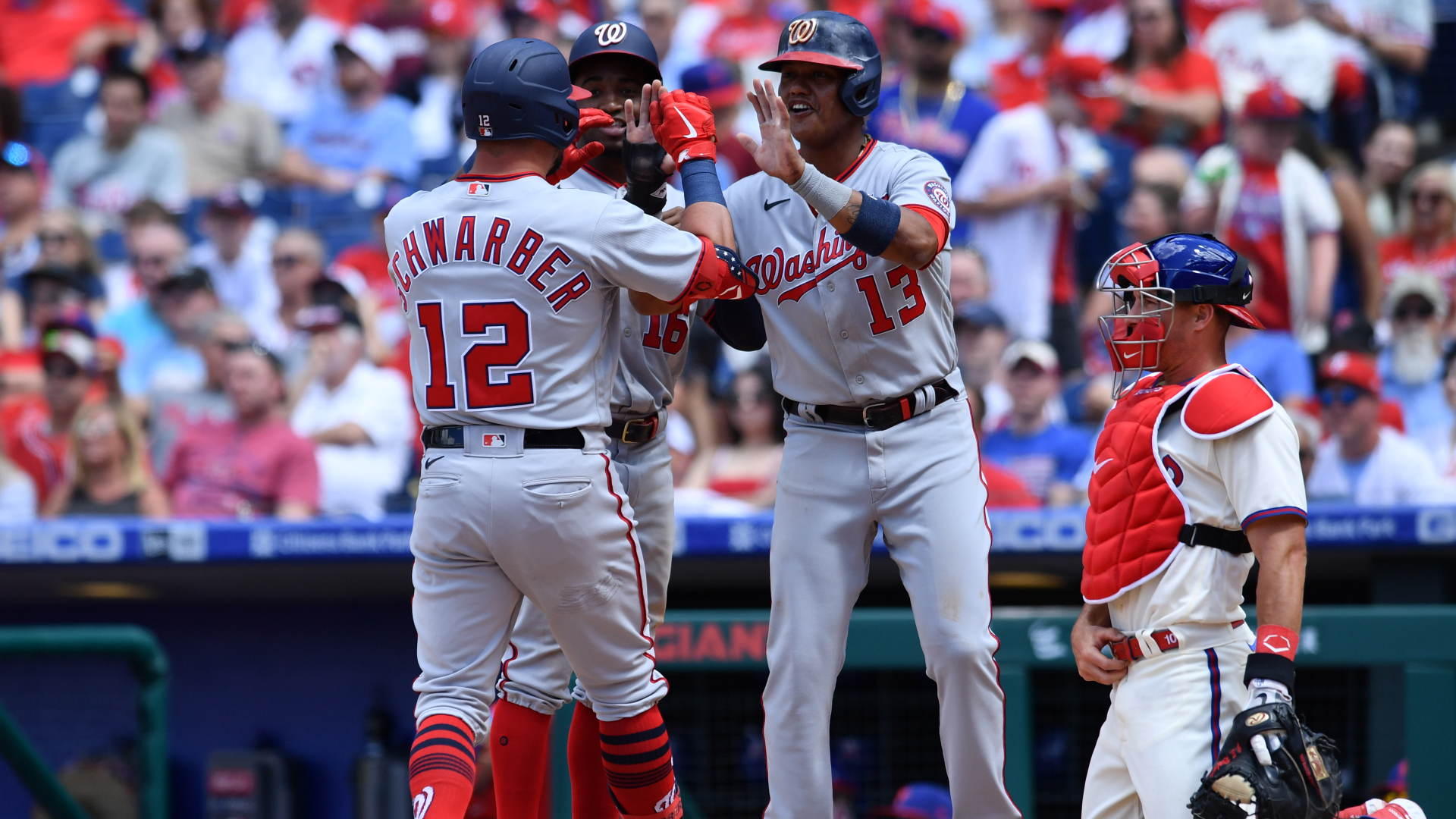 Kyle Schwarber scored his 10th home run in 12 games as the Washington Nationals and the Philadelphia Phillies renewed their tense rivalry.