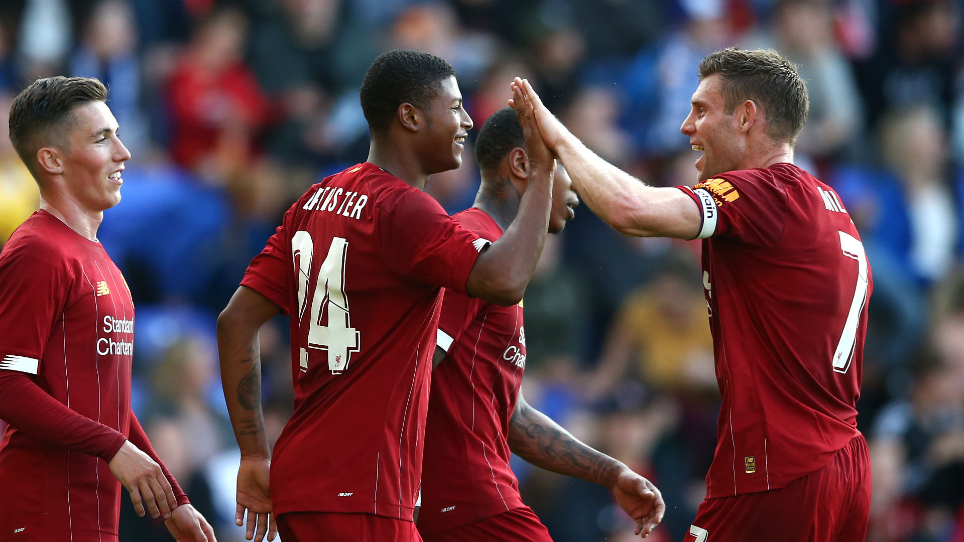 Rhian Brewster netted a double as Liverpool claimed a 6-0 friendly win against Tranmere Rovers, while Marseille lost to Accrington Stanley.