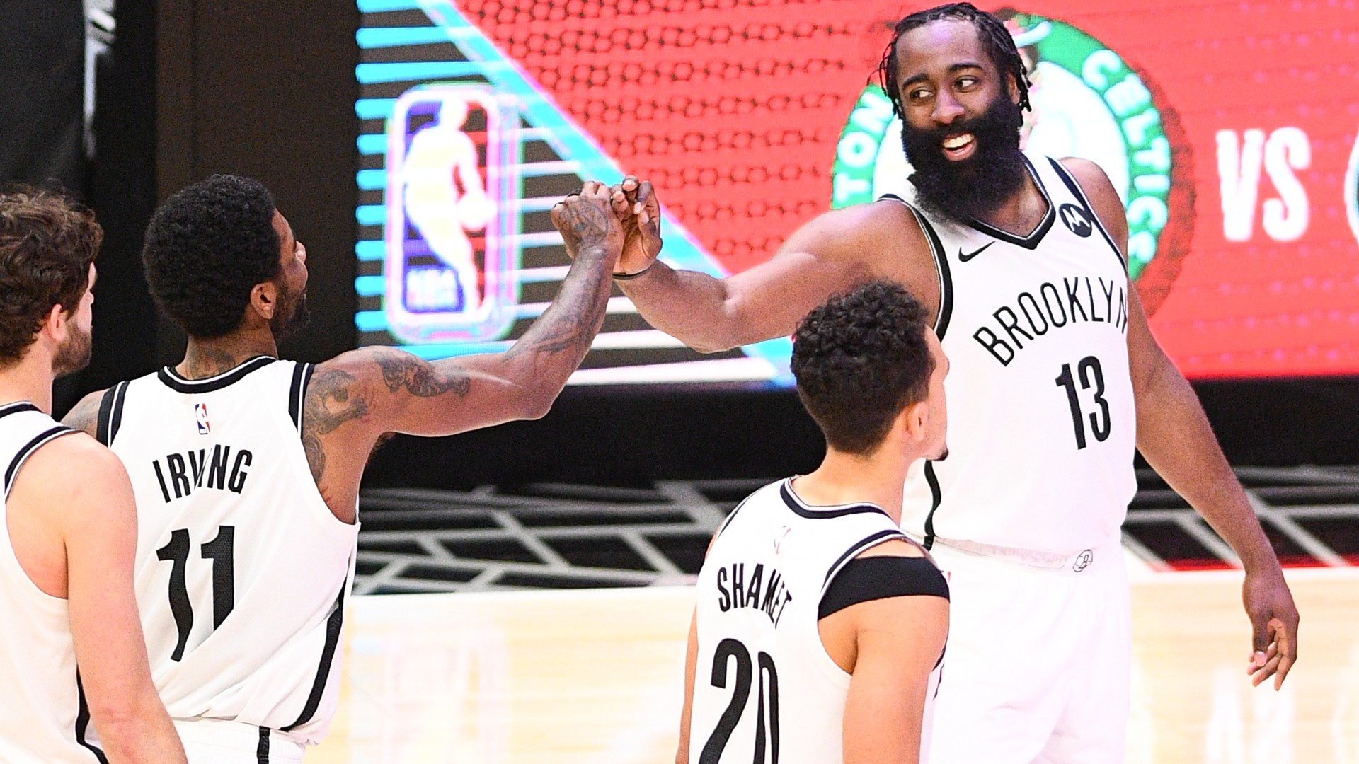 James Harden and Brooklyn Nets team-mate Kyrie Irving reacted to Sunday's win over the Los Angeles Clippers.