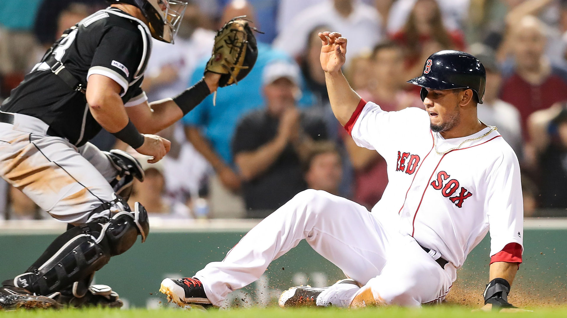 The Red Sox scored runs in the last five innings Monday to pull off a win against the White Sox at Fenway Park.