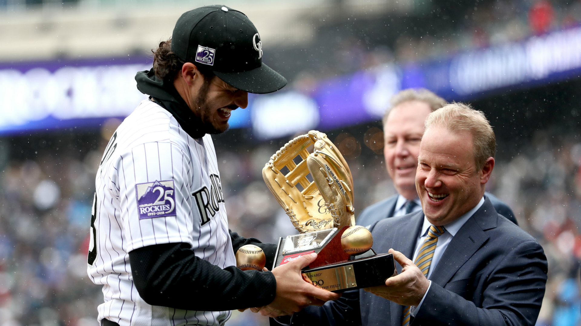 The Rockies third baseman notched his seventh career Gold Glove while the Red Sox right fielder won his fourth.