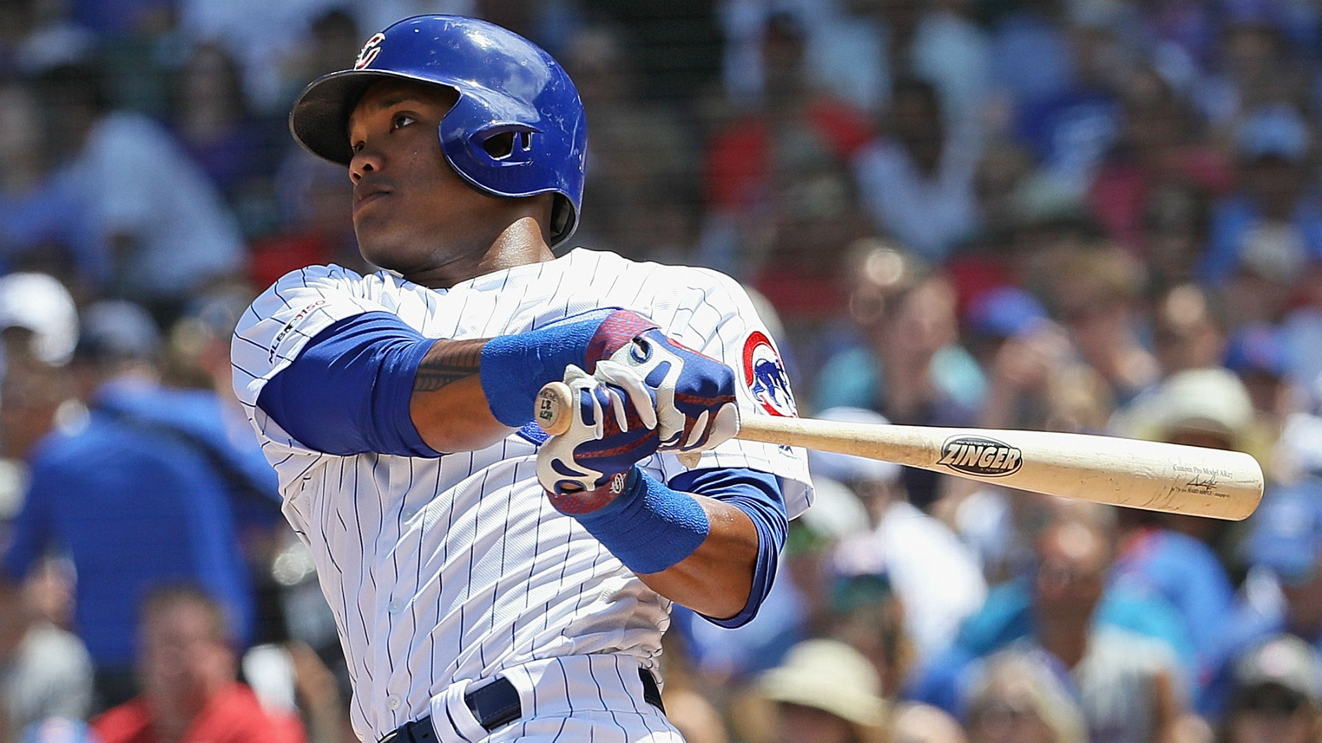 The Cubs shortstop was hit by a pitch in the head in the third inning.