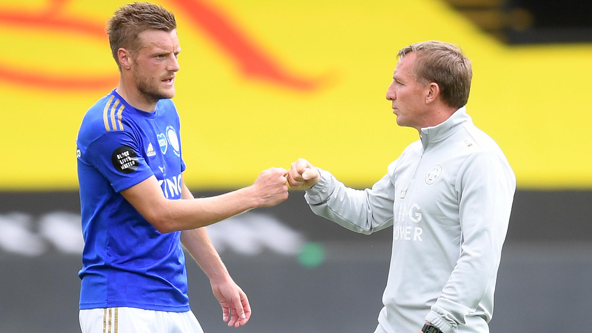 Amid Leicester City's goalscoring struggles, Brendan Rodgers backed forward Jamie Vardy.