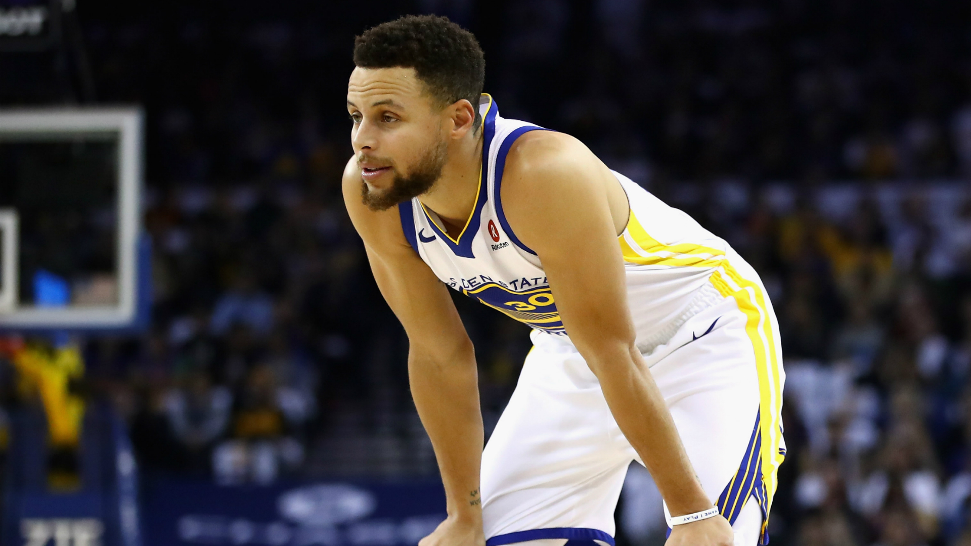 Stephen Curry was defending a drive to the basket when he jumped and came down on Golden State Warriors team-mate Zaza Pachulia's foot.