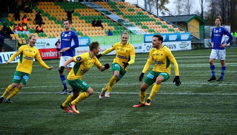 Martin Torp, Fredrik Krogstad, Jesper Andreasson og Ole Kristian Langås jubler mot Ranheim.