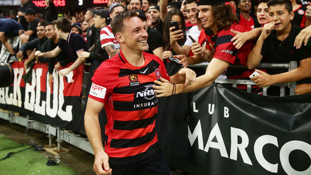 Brendon Santalab netted a hat-trick in the Wanderers' 3-1 win over City.