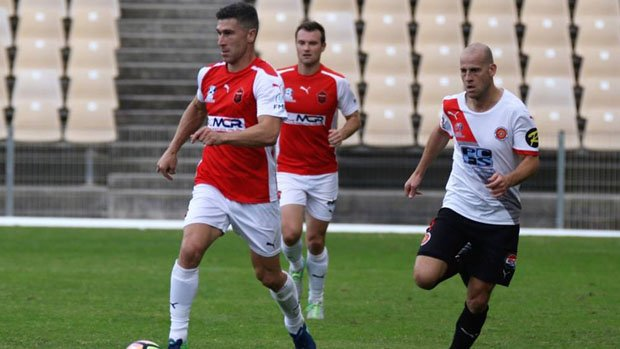 Nick Montgomery in action for Wollongong Wolves. Image: Wollongong Wolves.