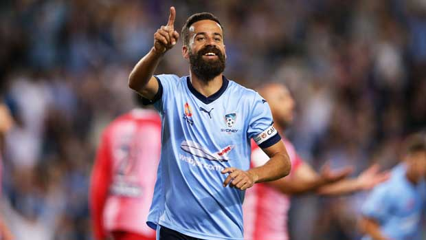 Sydney FC skipper Alex Brosque celebrates the opening goal in the win over Melbourne City.