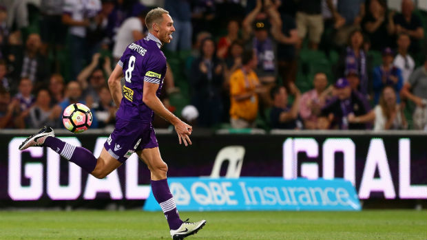 Glory skipper Rostyn Griffiths celebrates scoring against the Reds on Friday night.