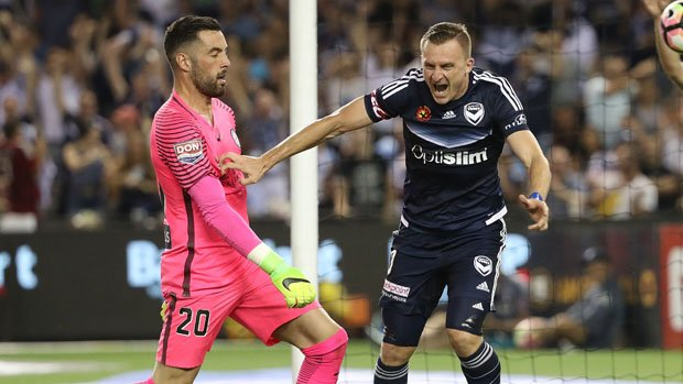 Besart Berisha was in the thick of the action in Victory's dramatic 2-1 win over City on Saturday night.