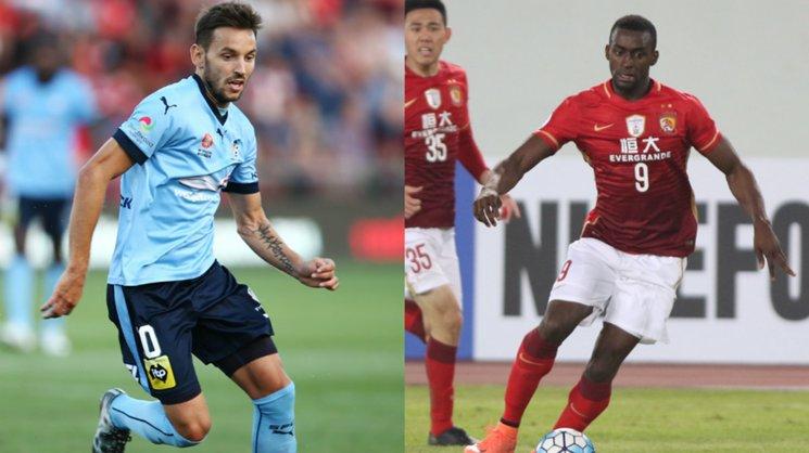 Sydney FC playmaker Milos Ninkovic and big money Guangzhou signing Jackson Martinez.