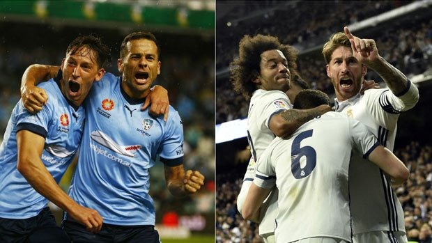 Sydney FC's Filip Holosko and Bobo celebrate a goal, as do Real Madrid's Marcelo and Sergio Ramos.