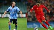 Sydney FC's star defender Rhyan Grant and Liverpool's Brazilian striker Roberto Firmino.