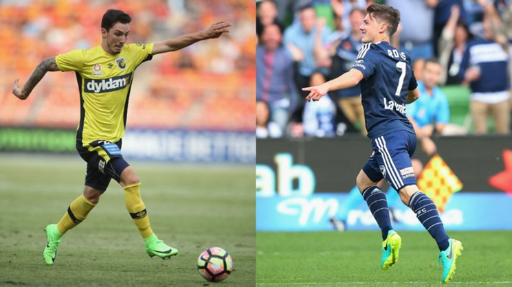 Mariners defender Storm Roux and Victory forward Marco Rojas.