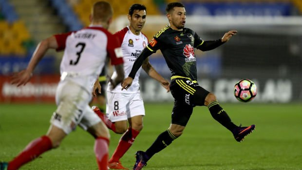 Kosta Barbarouses juggles the ball when the Phoenix played the Wanderers in Round 11.