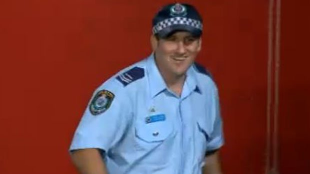 This policeman took his defensive duties to a whole new level at Central Coast Stadium.