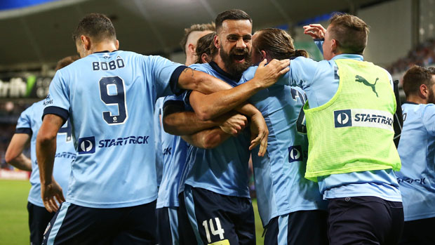 Sydney FC players celebrate after Rhyan Grant equalised in the second half.