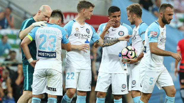Melbourne City players during their Round 14 clash against the Wanderers.