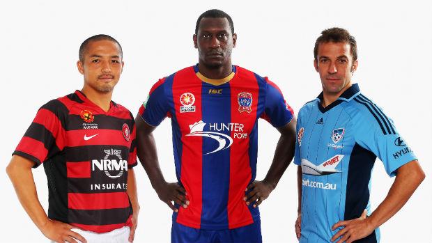 Former Hyundai A-League international stars Shinji Ono, Emile Heskey and Alessandro Del Piero.