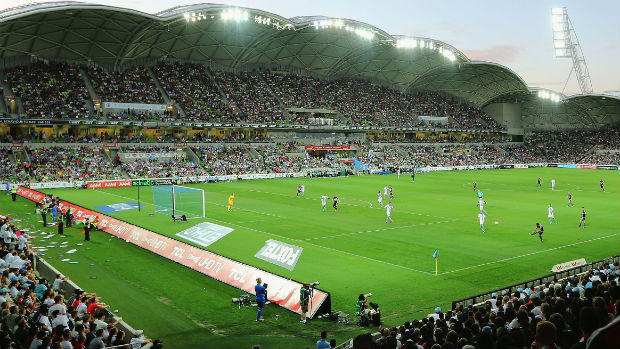 A general view of AAMI Park during Saturday night's Melbourne City v Melbourne Victory clash.